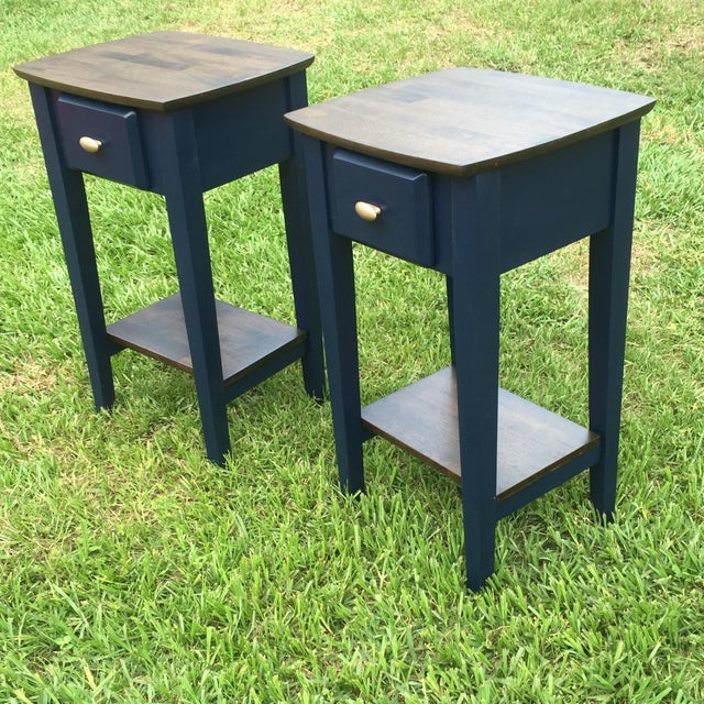 Navy Wood Nightstands - Pair - Image 2 of 4