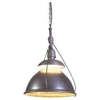 Industrial Vintage Metal & Glass Hanging Holophane Light