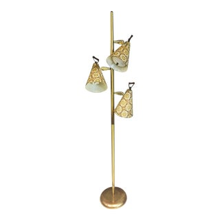 Mid Century Modern Gold Pole Floor Lamp with Fiberglass Shades