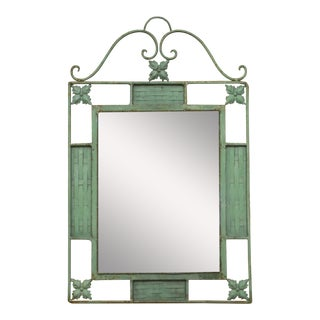 Wrought Iron Garden Mirror with Verdigris Finish