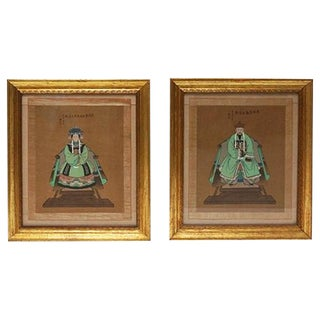 Antique Chinese Ancestor Portraits - A Pair