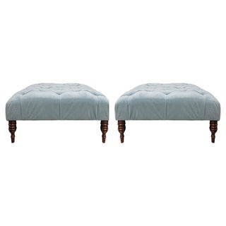 Teal Velvet Tufted Ottomans - A Pair