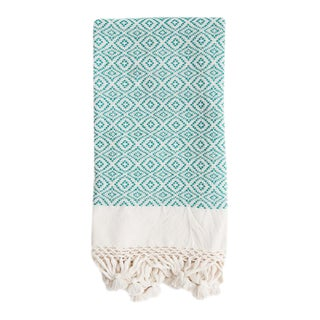 Turquoise Handwoven Mexican Throw