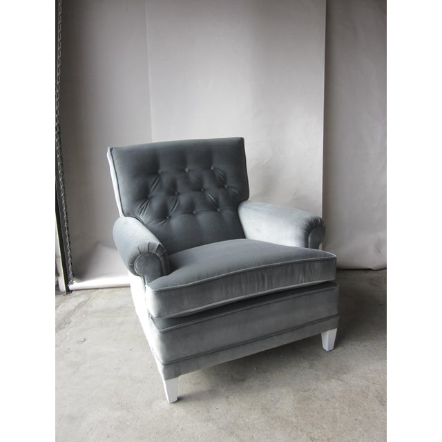 Large Grey Velvet Lounge Chair - Image 2 of 4