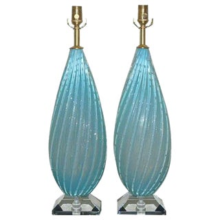 Almond Shaped Opaline Murano Lamps in Blue