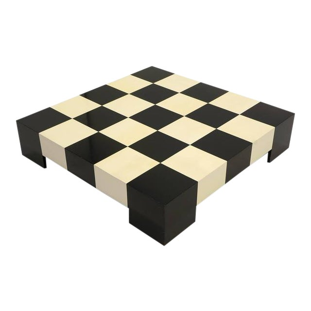 Large Square Black and White Checkerboard Coffee Table by Milo Baughman - Image 1 of 9