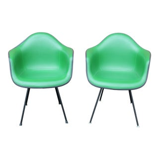 Eames Kelly Green Arm Shell Chairs - A Pair