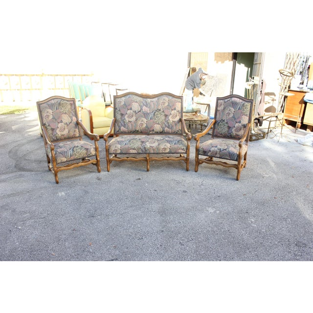 Solid Walnut Louis XIII Style Os De Mouton 2 Armchairs 1 settees Circa 1900s - Set of 3 - Image 4 of 11