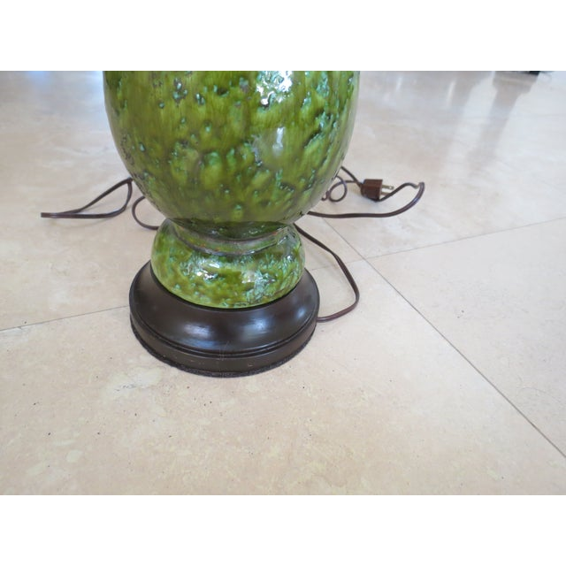 Vintage Green Ceramic Table Lamp - Image 3 of 6