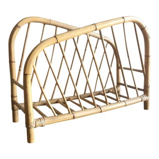 Boho Bamboo and Rattan Magazine Rack