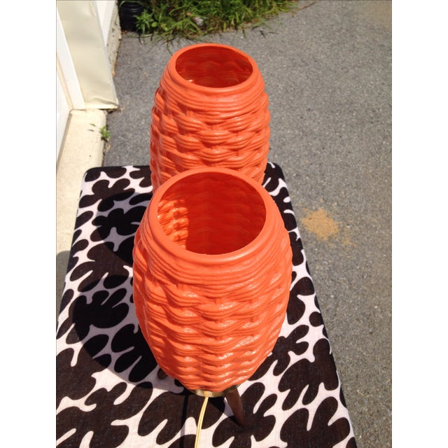 Mid-Century Modern Orange Beehive Lamps - A Pair - Image 5 of 7