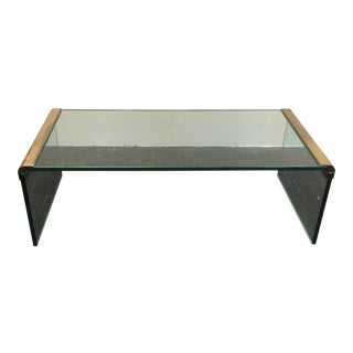 Pace Collection Glass and Brass Coffee Table