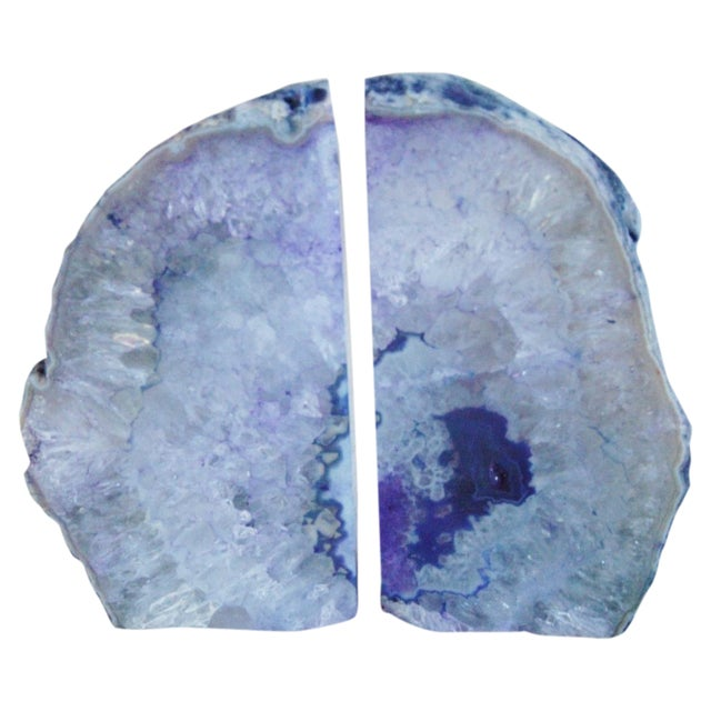 Violet Crystal Rock Geode Bookends - Image 1 of 7