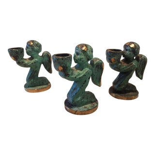 Vintage 1960s Brass Mini Angel Candle Holders - Set of 3