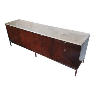 Vintage Knoll Marble-Top Rosewood Credenza