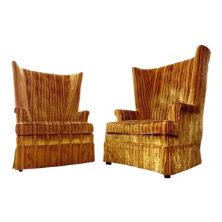Mid-Century Velvet Lounge Chairs - A Pair