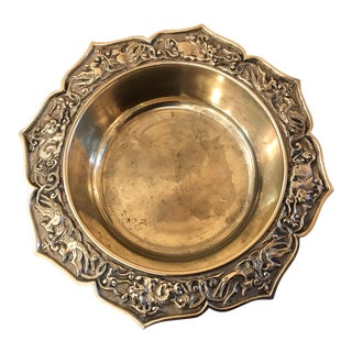 Vintage Asian Influenced Embossed Brass Dish