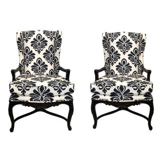1970s Century French Style Bergere Chairs - A Pair