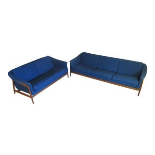 1960's Scandinavian Dux Custom Navy Blue Sofa & Loveseat