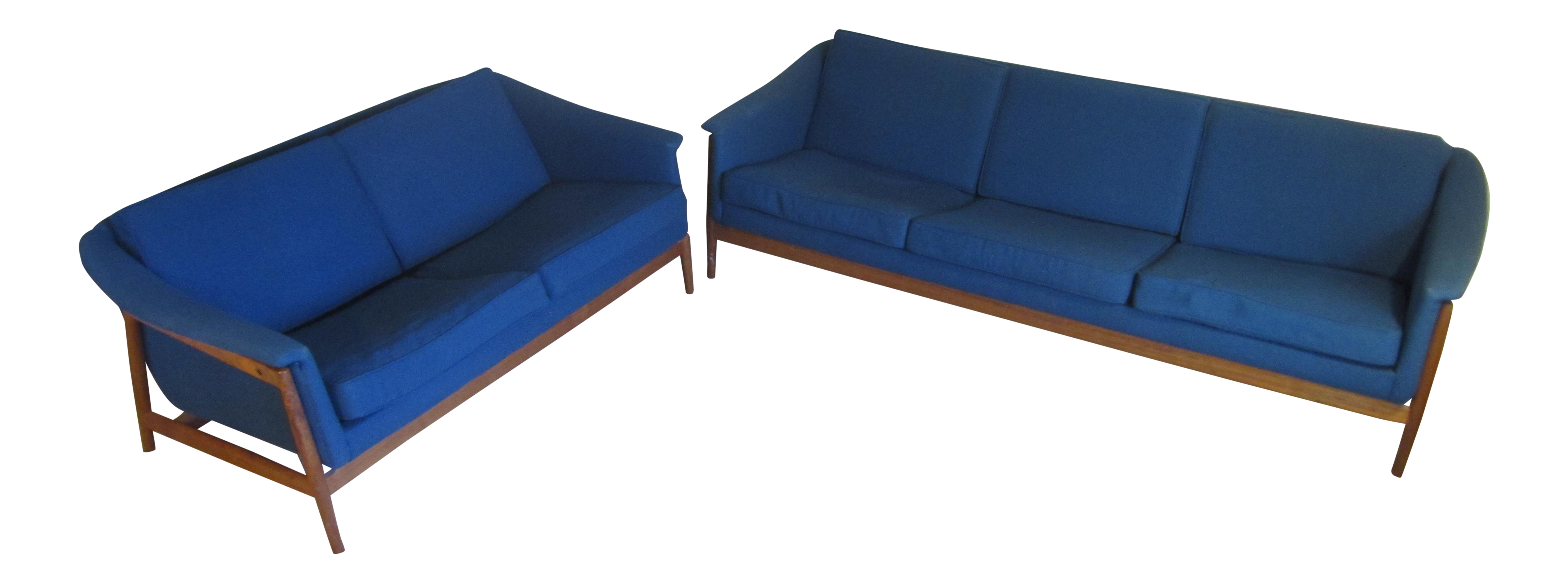 1960u0027s dux custom navy blue sofa u0026 loveseat