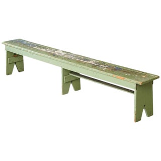 Primitive Green Pine Bench with Lots of Color Splashes from an Artist's Atelier