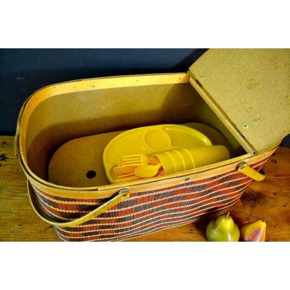 Vintage Picnic Basket & Dinnerware - Image 6 of 8