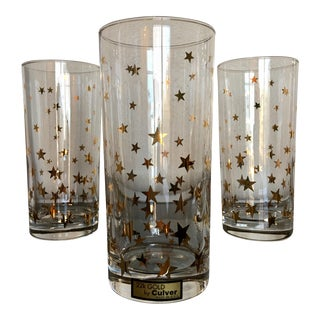 Vintage Culver Gold Star Highball Glasses- Set of 8