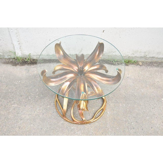 Vintage Arthur Court Mid-Century Hollywood Regency Gold Lily Side Table - Image 2 of 10