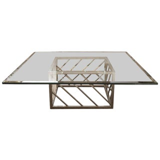 Large Chrome & Glass Coffee Table