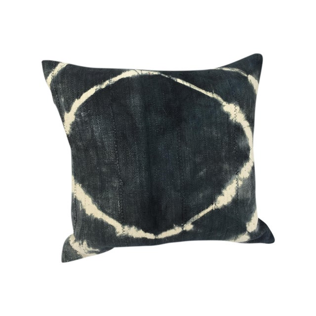 African Grey Tie Dye Mud Cloth Pillow - Image 1 of 6