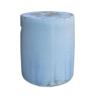 Chinese Ceramic Clay Off White Glaze Round Flat Column Garden Stool