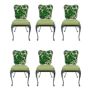 Woodard Green Cast Aluminum Garden Patio Dining Chairs - Set of 6