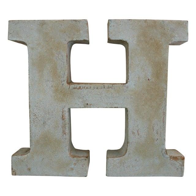 Image of Vintage Rustic Metal Letter: H