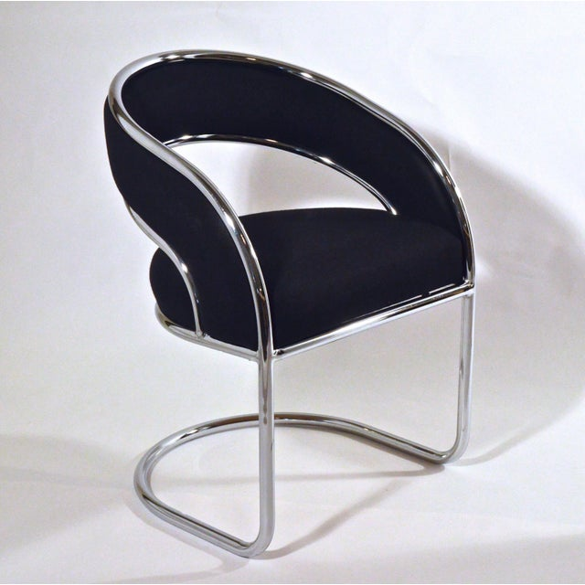 Set of Four Contemporary Shells Inc. Upholstered Chrome Sling Back Dining Chairs - Image 5 of 5