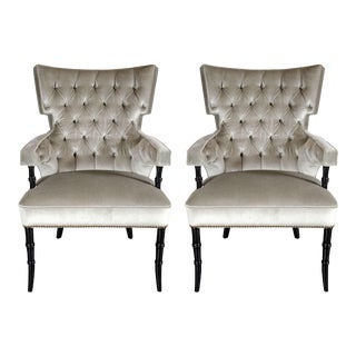 Pair of Mid-Century Modernist Tufted Klismos Chairs with Stylized Bamboo Legs