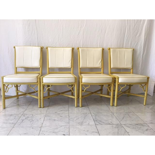 Vintage Daffodil Yellow Rattan Dining Chairs - Set of 6 - Image 10 of 11