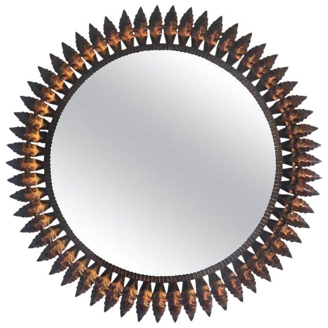 Mid-Century Spanish Sunburst Round Copper Mirror, 1950s - Image 1 of 5