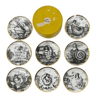 Piero Fornasetti Vintage Cocktail Coasters in Oceanidi Pattern With Original Box - Set of 8
