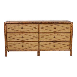 Mid-Century Grass Cloth Chest of Drawers