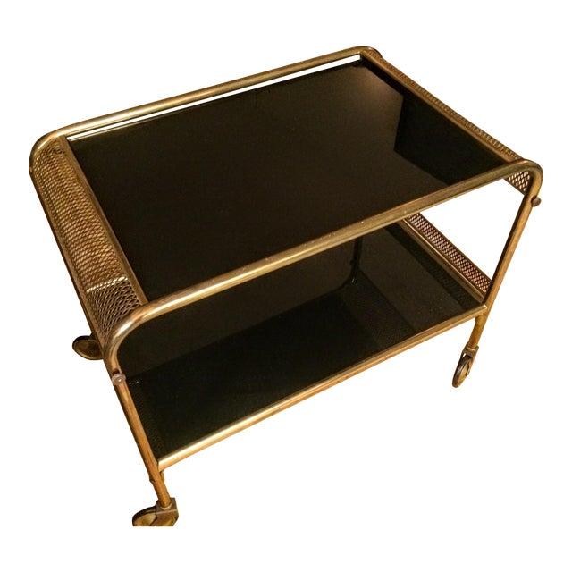 Mid-Century Brass & Black Glass Bar Cart - Image 1 of 11
