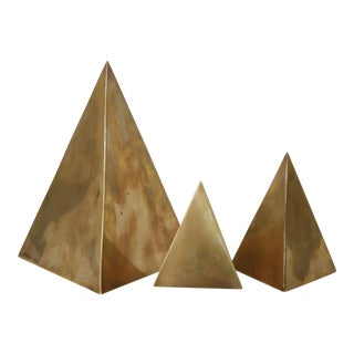 Vintage Brass Pyramid Sculptures - Set of 3