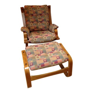 Danish Mid-Century Modern Sling Lounge Chair & Ottoman