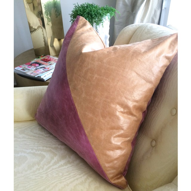 Modern Abstract Colorblock Pillows - A Pair - Image 2 of 3