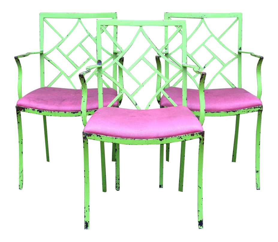 Mid Century Chinese Chippendale Chairs   Set Of 3