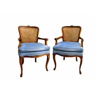 French Provincial Cane Arm Chairs - Pair