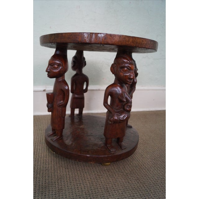 Black Coffee Table South Africa: Carved African Round Side Table