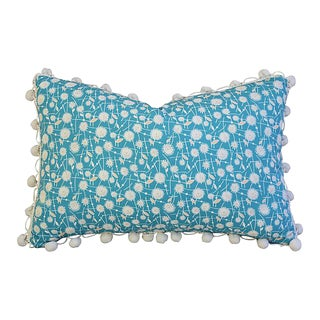 """18"""" x 12"""" Custom Tailored Dandelion Flower Feather/Down Pillow w/ Pom-Pom Trim"""