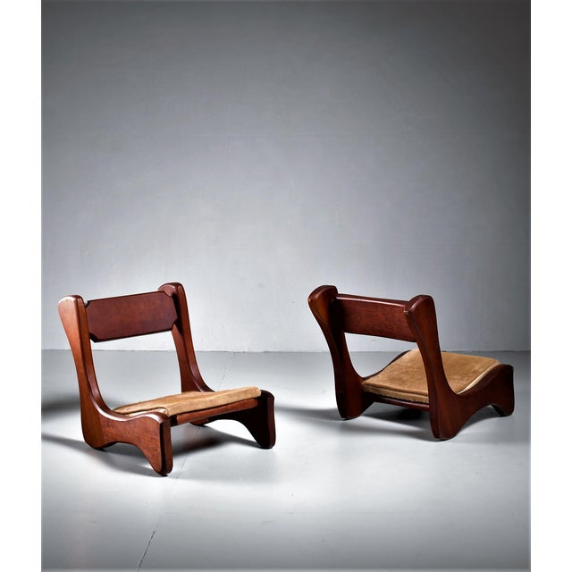 Pair Of American Low Pastor Chairs With Cowhide Seat Pad By John Mcalevey 1972