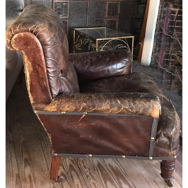 Old, Distressed Leather Club Chair - Image 3 of 10