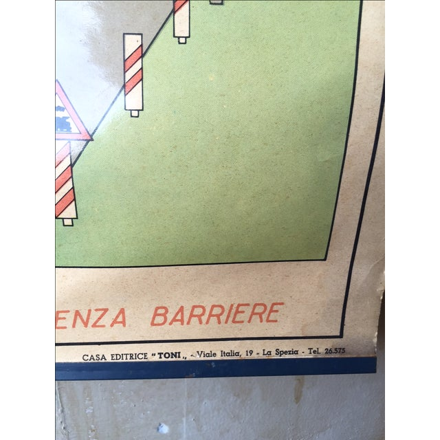 Image of Vintage Italian Poster Chart w/ Topographic Names